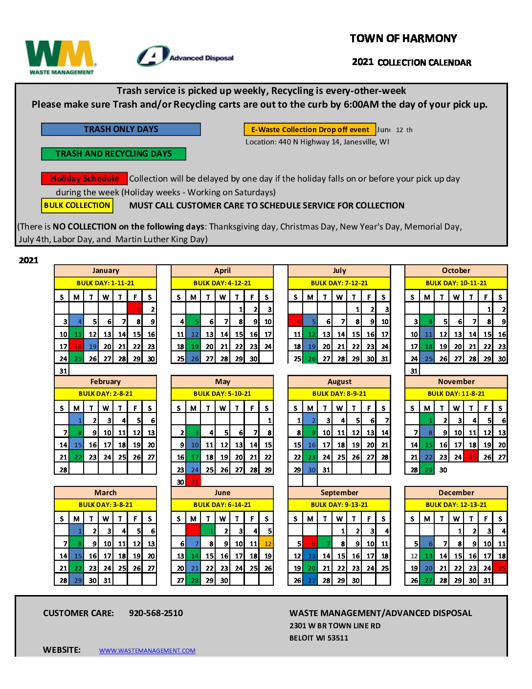 Trash Pickup Schedule Christmas 2021 Correct 2021 Waste Management Pick Up Schedule